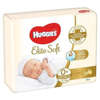 Подгузники Huggies Elite Soft 0+ <3,5кг 25шт
