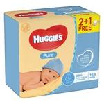 Серветки вологі Huggies Pure 2+1 168шт