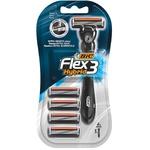 Станок для бритья BIC Flex 3 Hybrid мужской с 4 сменными касетами