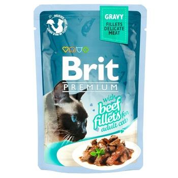 Корм консервированный Brit Premium с филе говядины в соусе для котов 85г - купить, цены на Ашан - фото 1