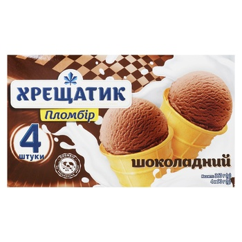 Hladyk Khreshchatyk Chocolate Ice cream 4pcs*90g - buy, prices for CityMarket - photo 1