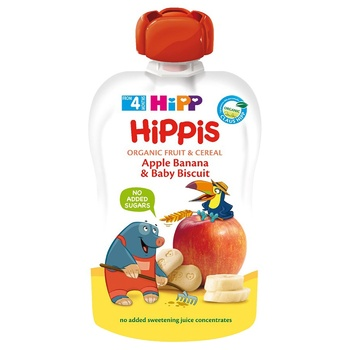 HiPP Hippis For Children From 4 Months Apple-Banana Puree with baby cookies 100g - buy, prices for CityMarket - photo 1