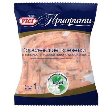 Креветки Vici Королевские в панцире варено-мороженые 30/40 1кг