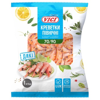 Vici Lux Boiled-Frozen Shrimps in Shell 70/90 1kg - buy, prices for CityMarket - photo 1