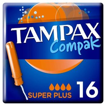 Tampax Compak Super Plus Tampons 16pcs - buy, prices for CityMarket - photo 1