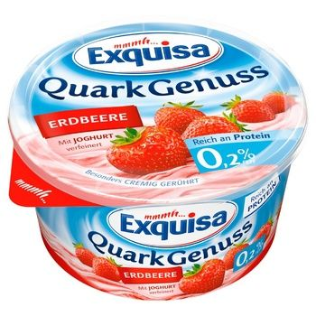 Exquisa Curd Dessert with Strawberries 0.2% 500g - buy, prices for Novus - photo 1