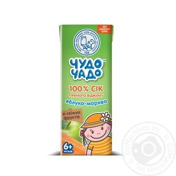Сок яблочно-морковный прямого отжима без сахара  Чудо-Чадо от 6-ти месяцев 200мл - купить, цены на Фуршет - фото 1