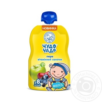 Пюре Чудо-Чадо Витаминный салатик с витамином С от 8-ми месяцев 90г - купити, ціни на МегаМаркет - фото 1