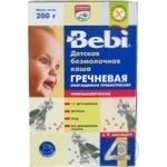Dry instant dairy-free low-allergenic porridge Bebi Buckwheat enriched with prebiotics for 4+ month old babies 200g