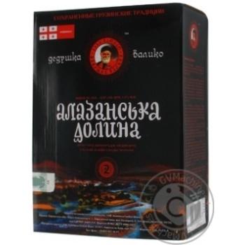 Вино красное Дедушка Валико Алазанская Долина виноградное ординарное столовое тихое полусладкое 12% тетрапакет 2000мл Украина