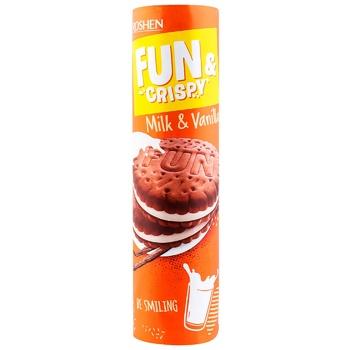 Крекер Roshen Fun&Crispy с молочно-ванильной начинкой 135г