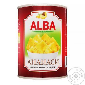 Ананаси Alba Food шматочками в сиропі 580мл - купити, ціни на МегаМаркет - фото 1