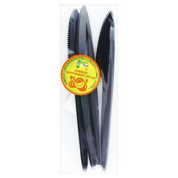 Нож Унипак Черная Жемчужина столовый одноразовый 6шт