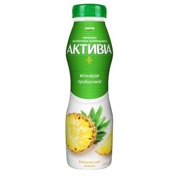 Бифидойогурт Активиа ананас 1,5% 290г - купить, цены на Метро - фото 1
