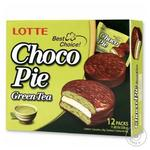 Печенье бисквитное Lotte Choco Pie Зеленый чай прослоенное глазированное 12*28г 336г - купить, цены на МегаМаркет - фото 1