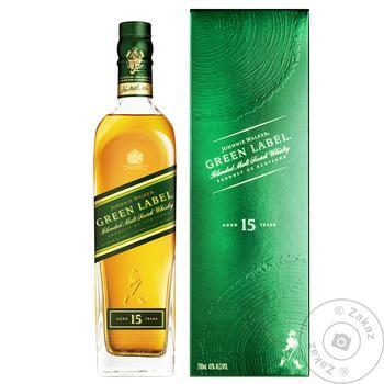 Виски Johnnie Walker Green Label 15 лет 43% 0,7л в коробке - купить, цены на Novus - фото 1