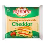 Сыр плавленый President cheddar для сэндвичей 120г