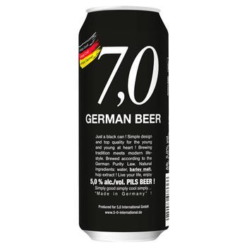 Пиво 7,0 German Beer Pils светлое ж/б 5% 0,5л