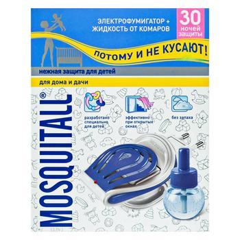 Комплект MOSQUITALL Ніжний захист від комарів електрофумігатор + рідина 30 ночей 30мл - купити, ціни на Novus - фото 1
