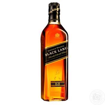 Виски Johnnie Walker Black label 12 років 40% 0.7л - купити, ціни на МегаМаркет - фото 1