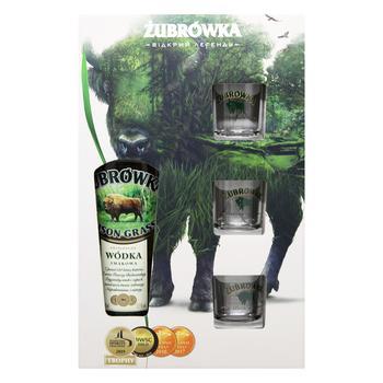 Напій алкогольний Zubrowka Bizon Grass 37,5% 0,7л + 3стопки - купити, ціни на Восторг - фото 1