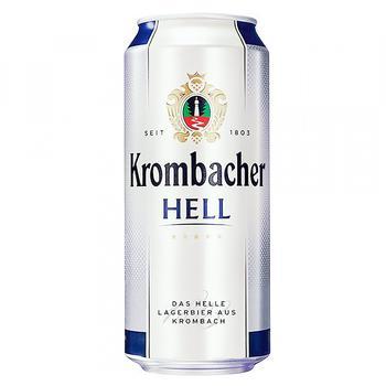 Пиво Krombacher Hell светлое ж/б 5% 0.5л