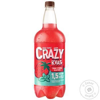 Kvas Taras Crazy Kvas Strawberry And Mint Taste Bread Live Fermentation Drink 1,5l - buy, prices for Furshet - image 1