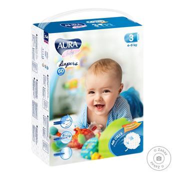 Подгузники AURA Baby Mega-pack 4-9кг 60шт