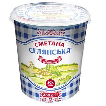 Сметана Селянська 20% 350г - купить, цены на МегаМаркет - фото 1
