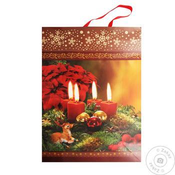 Пакет паперовий Happycom різдв'яний XGBXLE 45Х32см - купить, цены на Таврия В - фото 1