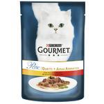 Корм для дорослих котів GOURMET PERLE DUO консервований міні філе у підливці з куркою та яловичиною 85г