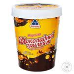 Морозиво Рудь Шоколадний грильяж зі шматочками мигдалю та глазур'ю 500г