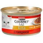 Корм Gourmet Gold Соус Де-люкс з яловичиною для дорослих котів 85г