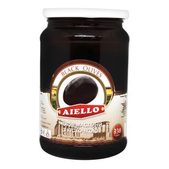 Маслини Aiello чорні з кісткою 350г