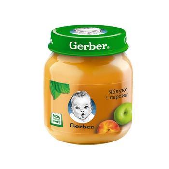 Пюре Гербер яблоко и персик без крахмала и сахара для детей с 5 месяцев 130г - купить, цены на Фуршет - фото 1