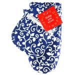 Перчатка и прихватка вензель на синем
