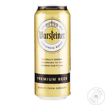 Пиво Warshteiner Premium светлое ж/б 4.8% 0,5л - купить, цены на Novus - фото 1