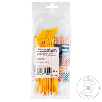 Вилки Week End Karnaval одноразовые пластиковые цветные 10шт - купить, цены на Novus - фото 1