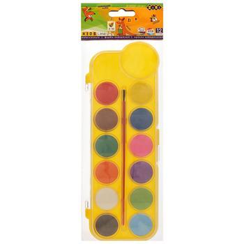 Фарби акварельні сухі 12 кольорів пластиковий корпус синтетичний пензлик асорті ZB.6559 ZiBi
