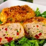 Котлеты с куриным филе, сыром и болгарским перцем