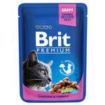 Корм Brit Premium консервированный с курицей и индейкой для кошек 100г