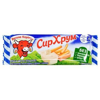 Сыр плавленый Веселая Коровка с хлнбными палочками 45% 35г - купить, цены на Фуршет - фото 1