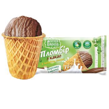 Мороженое Белая бяроза пломбир шоколадный в сахарном стаканчике 70г