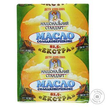 Масло сладкосливочное Национальный стандарт Экстра 82,5% 200г - купить, цены на Фуршет - фото 1