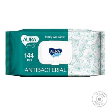 Серветки Aura Family вологі з антибактерiальним ефектом з клапаном 144шт