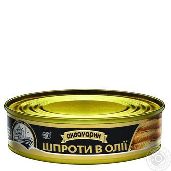 Шпроты Аквамарин в подсолнечном масле 230г - купить, цены на Ашан - фото 1