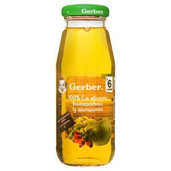 Reconstituted clarified pasteurized sugar-free juice with vitamin C Gerber apple and grapes for 6+ months babies 175ml - buy, prices for EKO Market - photo 1