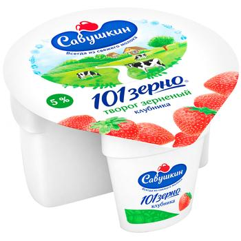 Сир Савушкін продукт 101 зерно + вершки кисломолочний зернений 5% 105г полуничний наповнювач 25г пластиковий стакан Білорусія