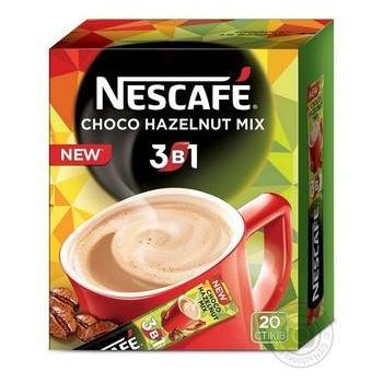 Напиток кофейный NESCAFÉ® 3-в-1 Choco Hazelnut со вкусом шоколада и лесного ореха растворимый стик 20*13г