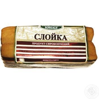 Продукт мясной Закарпатские Колбасы Слойка сырокопченый